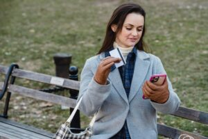 A woman on her phone.