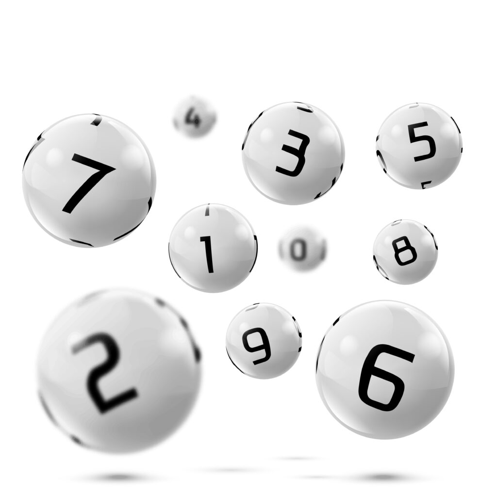 Keno balls with numbers.