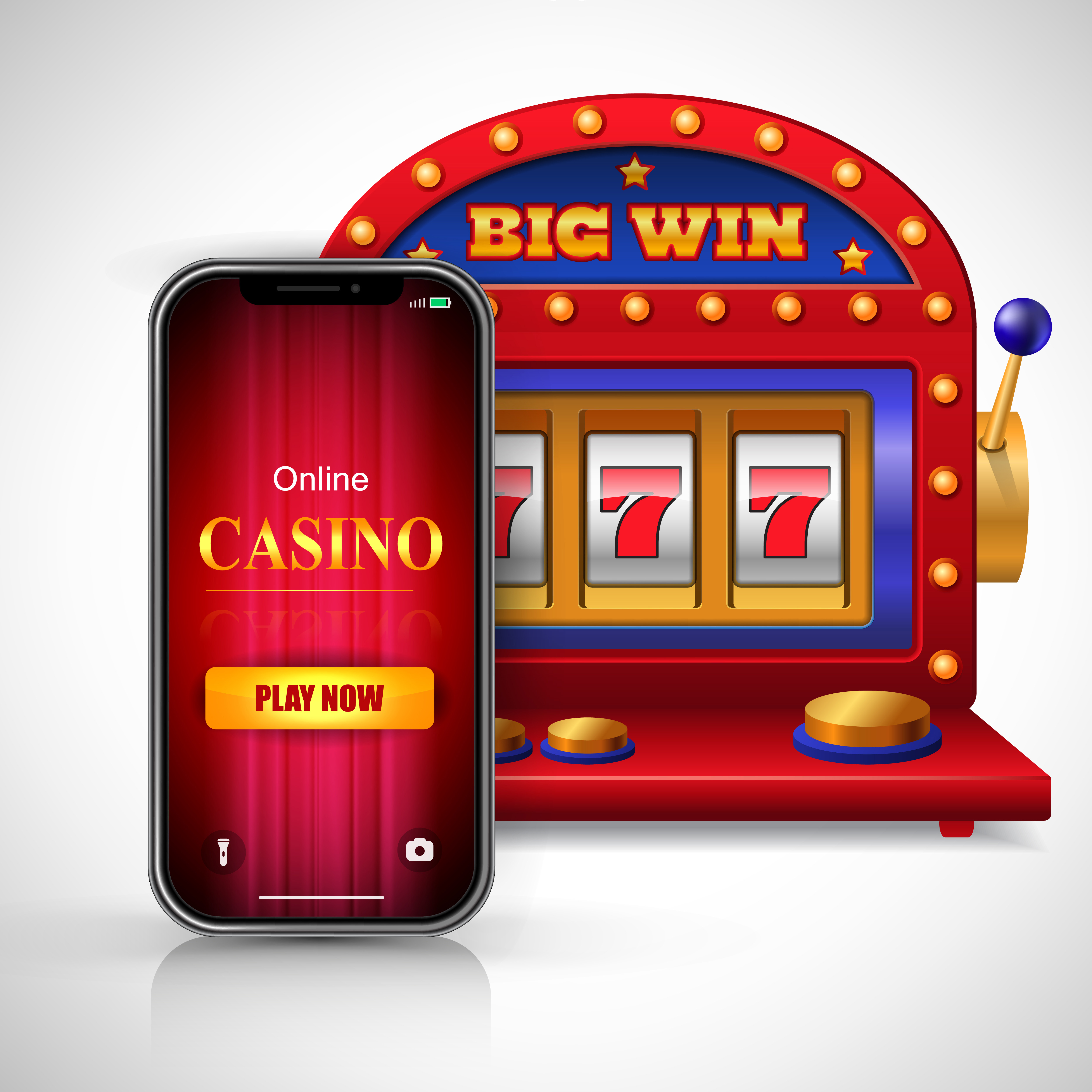 Big win online casino play now lettering on smartphone screen and slot machine. Casino business advertising design. For posters, banners, leaflets and brochures.