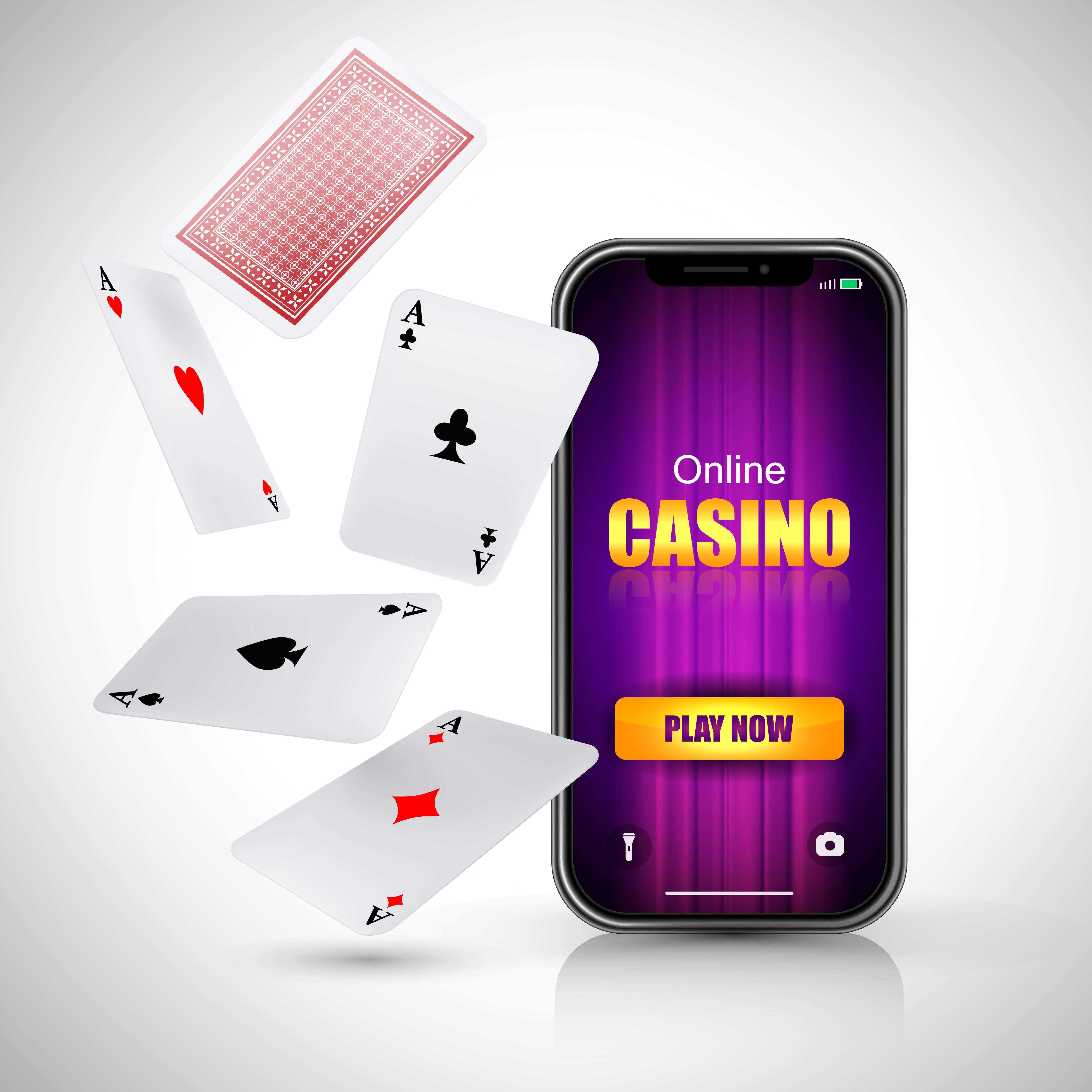 Online casino play now lettering on smart phone screen and flying aces on white background. Casino business advertising design. For posters, banners, leaflets and brochures.