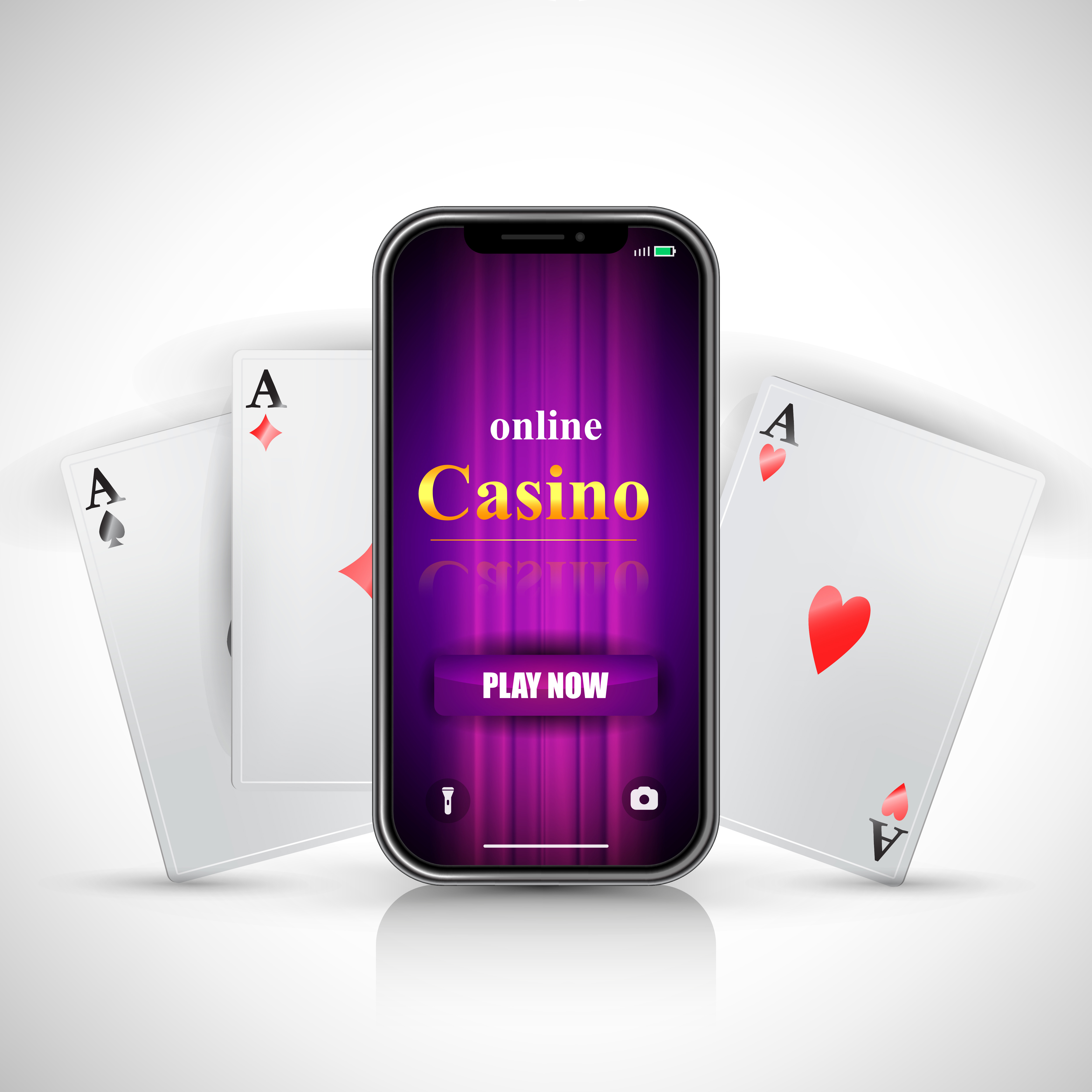 Online casino play now lettering on smartphone screen and three aces on white background. Casino business advertising design. For posters, banners, leaflets and brochures.