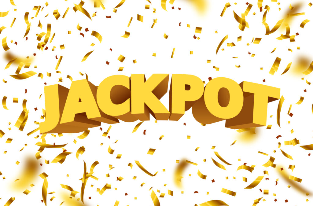 Jackpot sign with gold realistic 3d falling confetti. Vector illustration