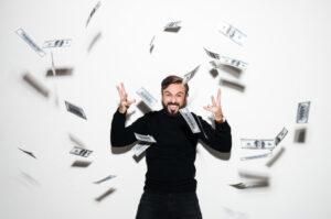 A man celebrating casino winnings.